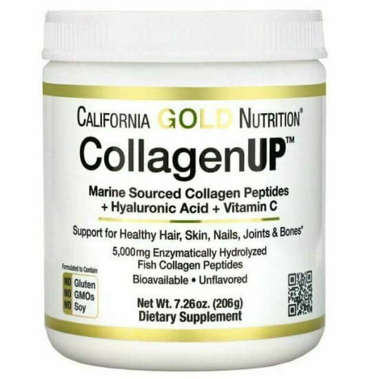 California Gold Nutrition CollagenUP Marine Hydrolyzed Collagen + Hyaluronic Acid + Vitamin C 206gr